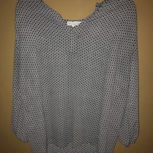 Black and White Patterned 3/4 Sleeve Blouse